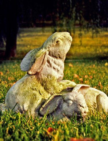 Bunnies at Play Garden Sculpture