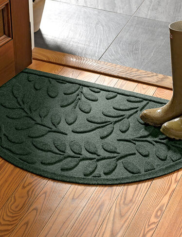 Half-Round Laurel Leaf Water Glutton Door Mat