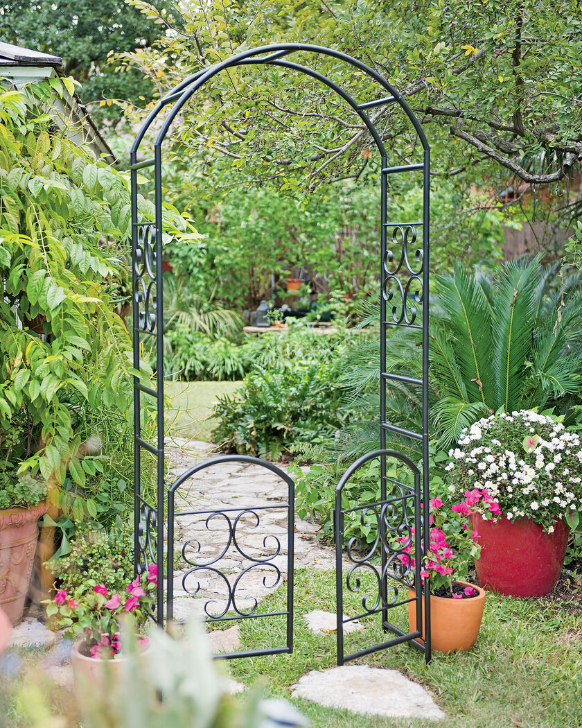 Metal Arbor Laurel Garden Arbor with Gate Trellis with Gate