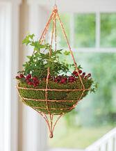 Copper Wire Hanging Basket, Teardrop