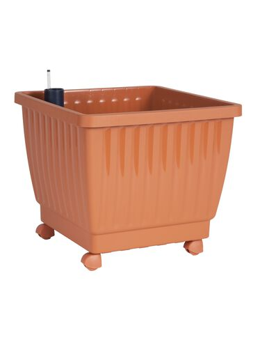 "17"" Self-Watering Rolling Planter, Terra Cotta"