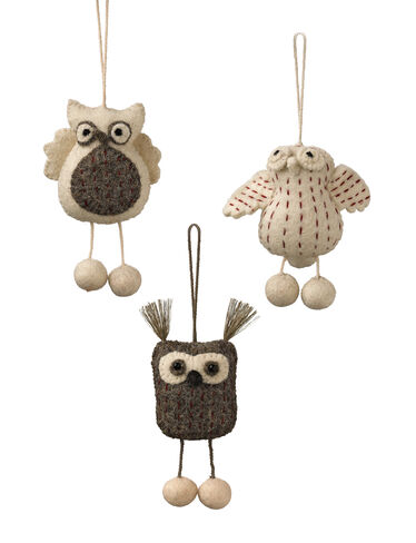 Felt Owl Ornaments, Set of 3