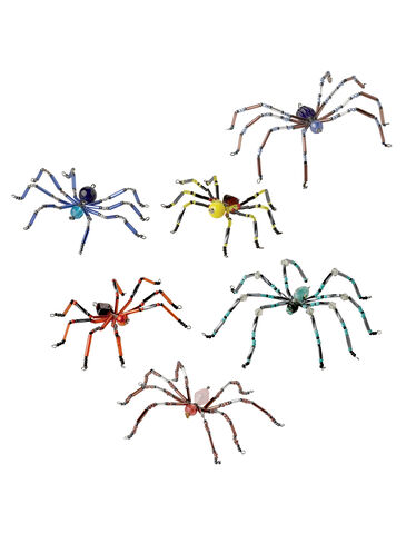 Glass Bead Spiders, Set of 6