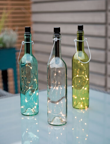 Led colored wine bottle lights set of 3 for Where to buy colored wine bottles