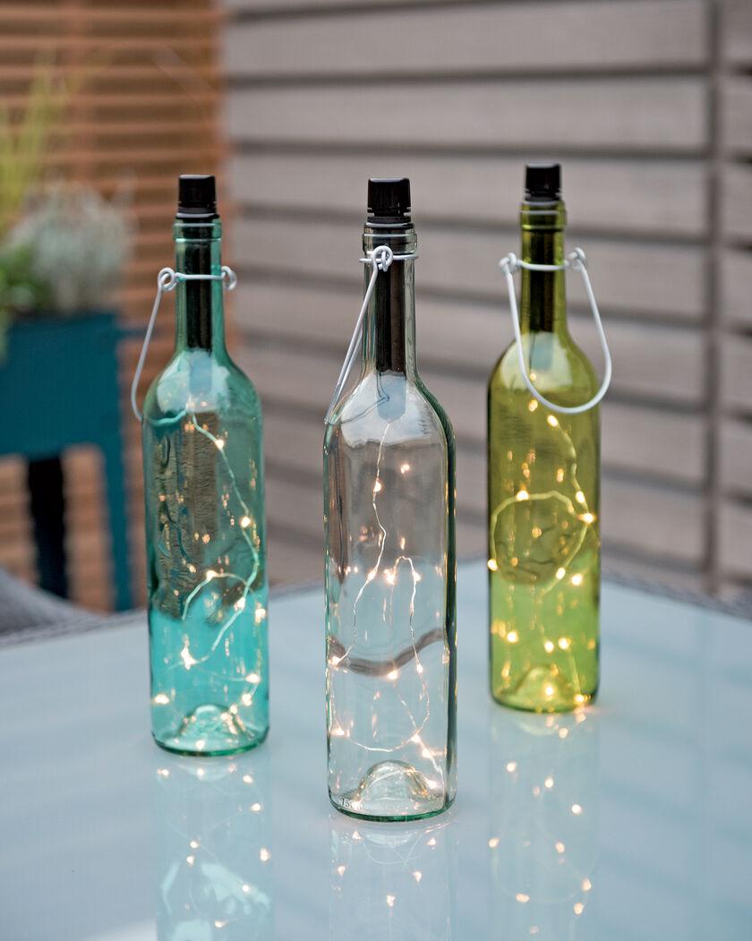 Led colored wine bottle lights set of 3 for Light up wine bottles