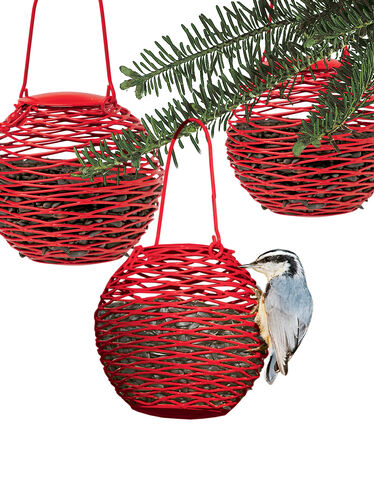 Red Mini Globe Feeders, Set of 3