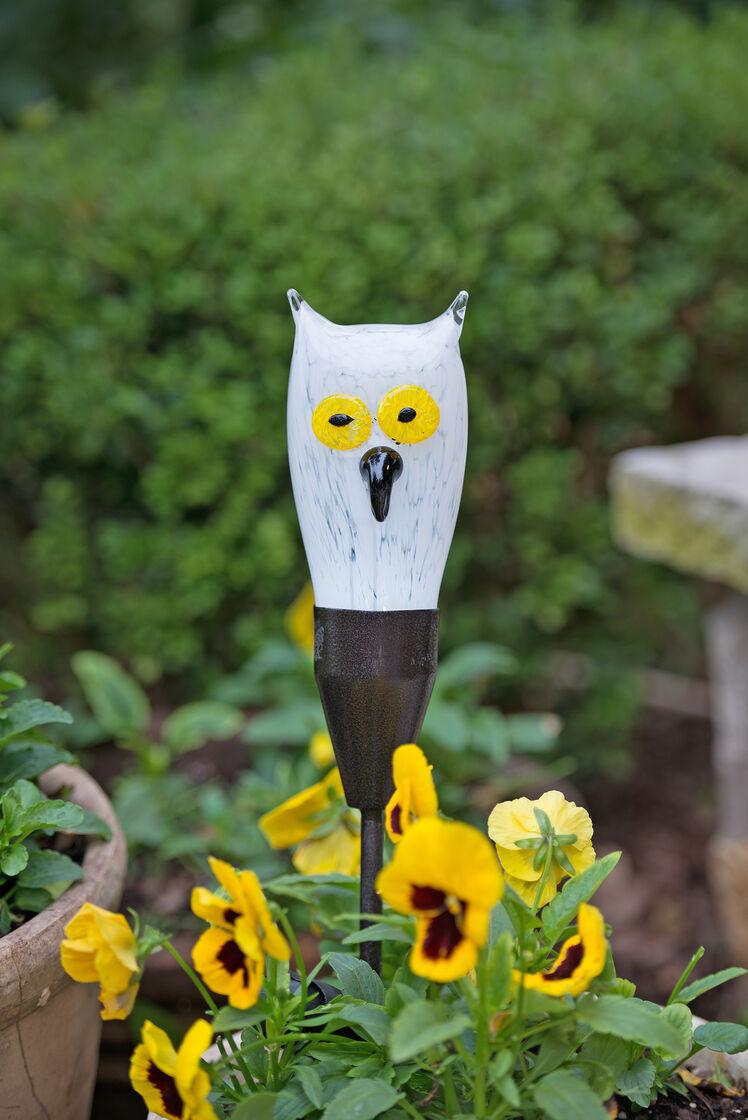 Solar Garden Stakes Glass Owl Gardeners Com