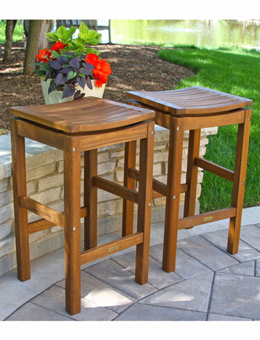 Eucalyptus Bar-Height Stools, Set of 2
