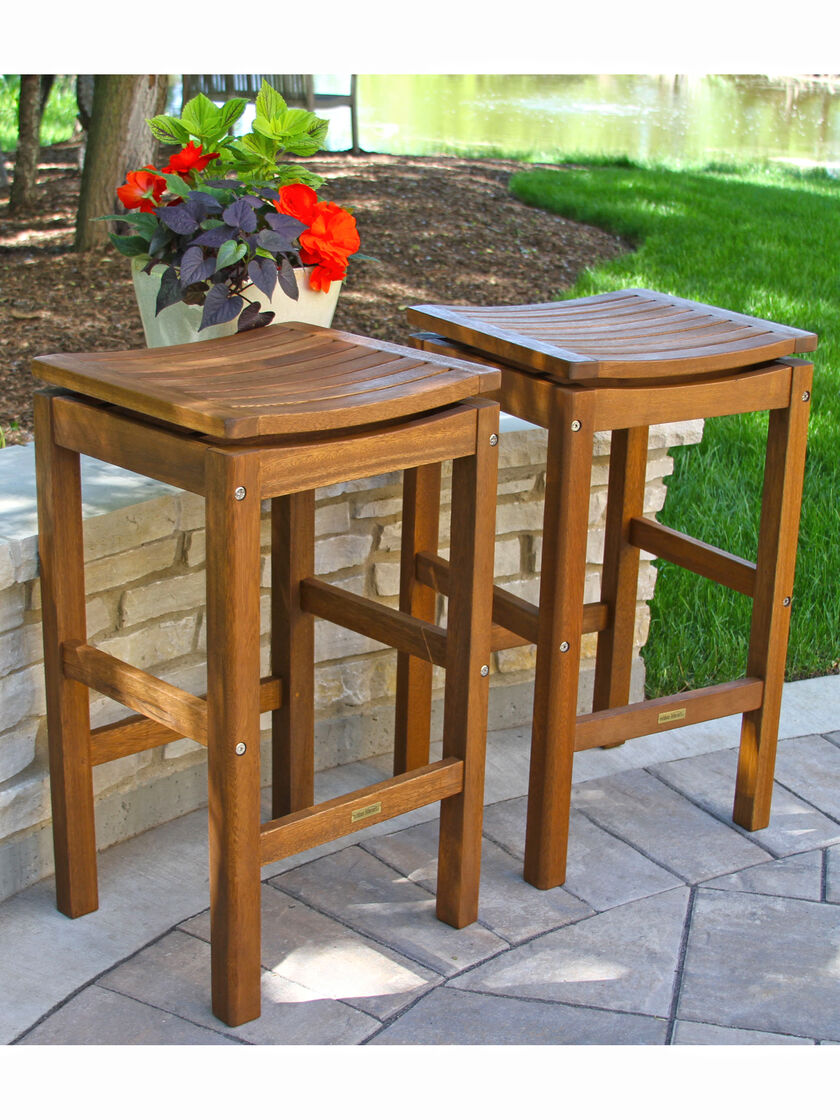Outdoor Bar Stools Eucalyptus Wood Bar Height Stools Set Of 2