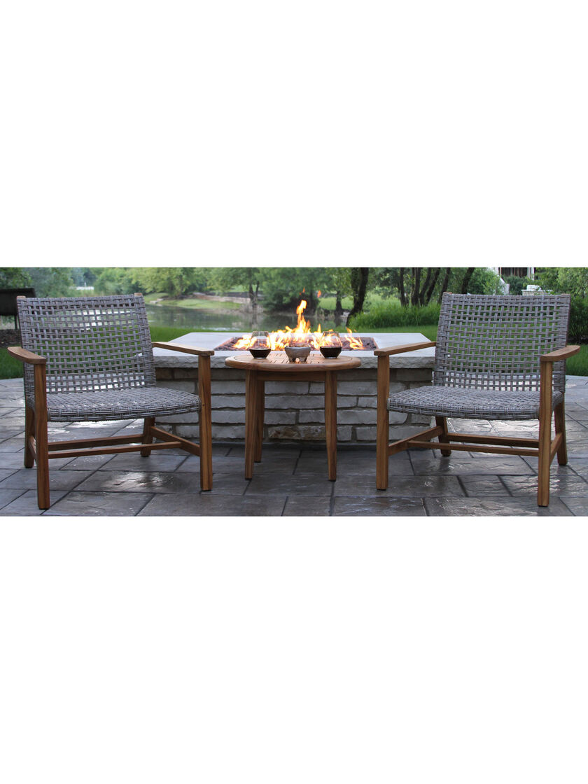 outdoor lounge set in teak and wicker two armchairs. Black Bedroom Furniture Sets. Home Design Ideas