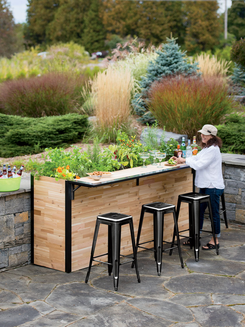 Reclaimed Wood Outdoor Bar Tall Planter Patio Plant A