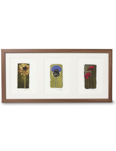 Embroidered Flower Triptych