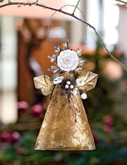 Rose Button Angel Ornament