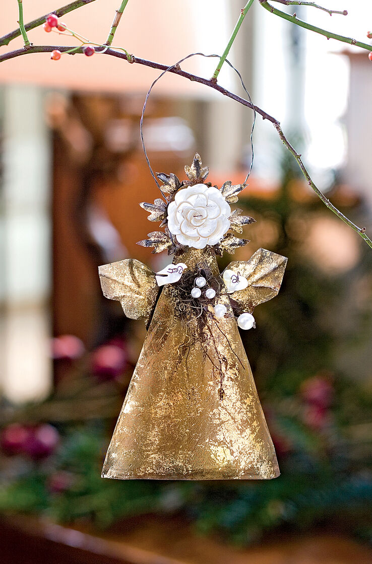 Rose button angel ornament art