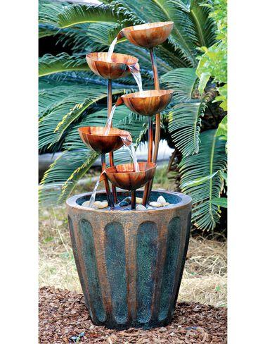 Copper Lotus Cascading Fountain