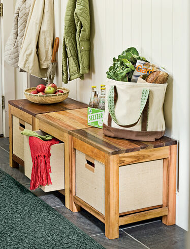 Reclaimed Wood Stool with Storage Basket