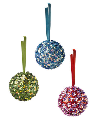 Sequin Flower Balls, Set of 3