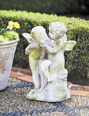 Two Cherubs Playing Garden Sculpture