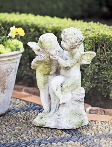 Two Cherubs Playing Garden Sculpture