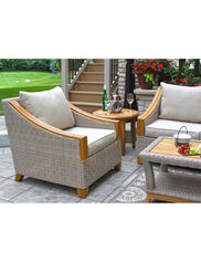 Vineyard Outdoor Wicker and Teak Armchair