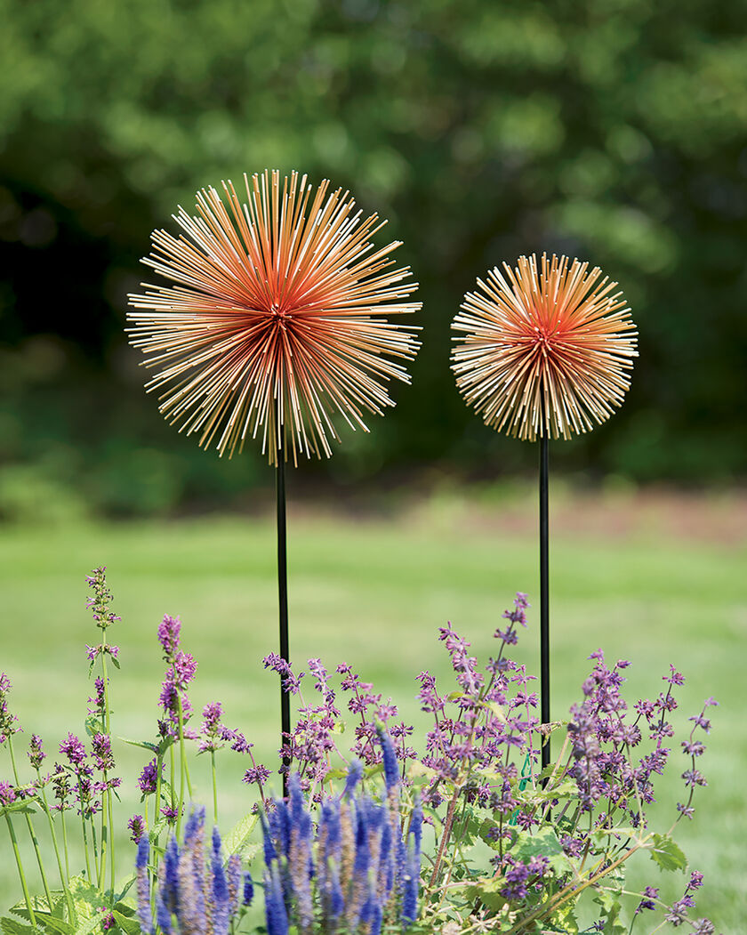 Metal Flowers Set Of 2 Allium Sunburst Stakes