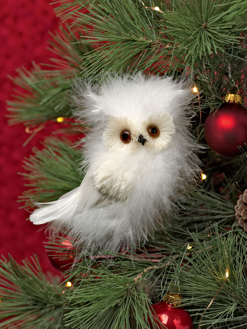Feathered Owl Christmas Ornament | Gardeners.com