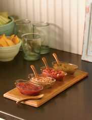Wood Tray with Dipping Bowls