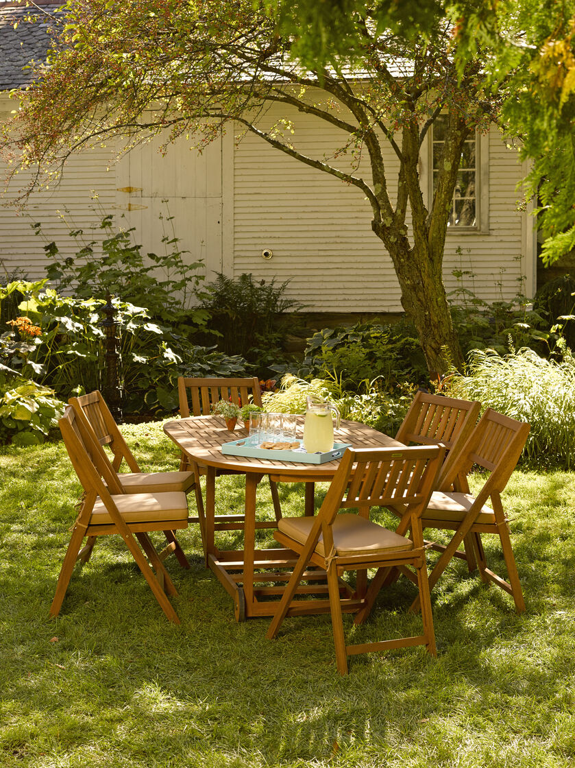 Patio Table Set 7 Piece Oval Folding Table Gardeners Com