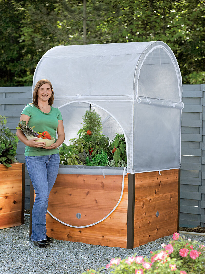 Mini Greenhouse Elevated Cedar Raised Bed With Grow Shelter