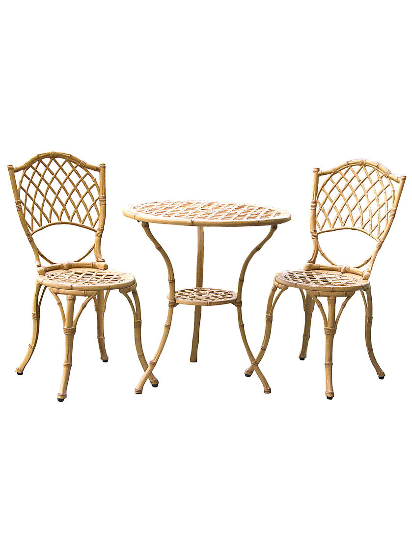 cast aluminum patio furniture metal bamboo bistro set. Black Bedroom Furniture Sets. Home Design Ideas