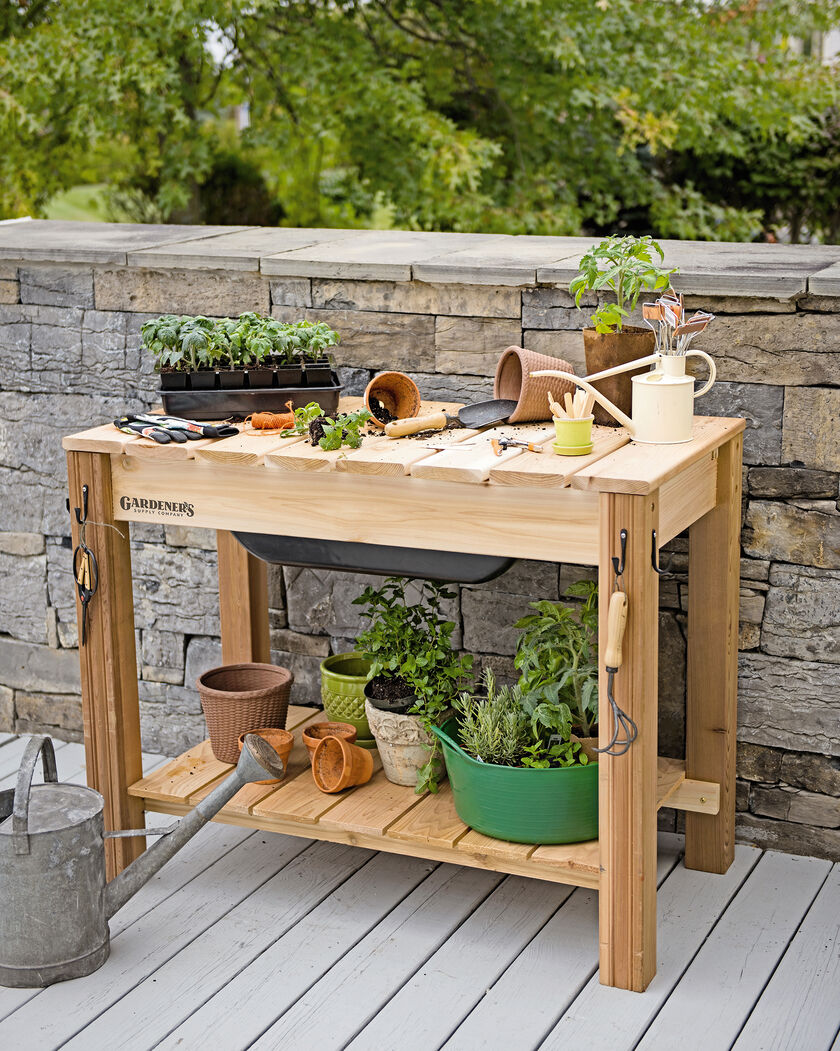 Potting Bench  Cedar Potting Table With Soil Sink. Desk Size. Webex Help Desk. Wine Buffet Table. Apg Vasario Cash Drawer. Country Dining Table. Curved Reception Desk. Wood Dining Room Tables. Cox Cable Help Desk