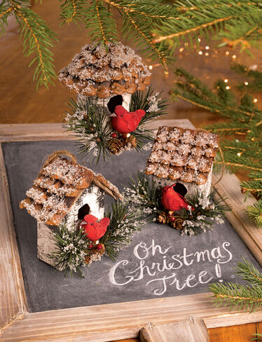 Cardinal Birdhouse Ornaments, Set of 3