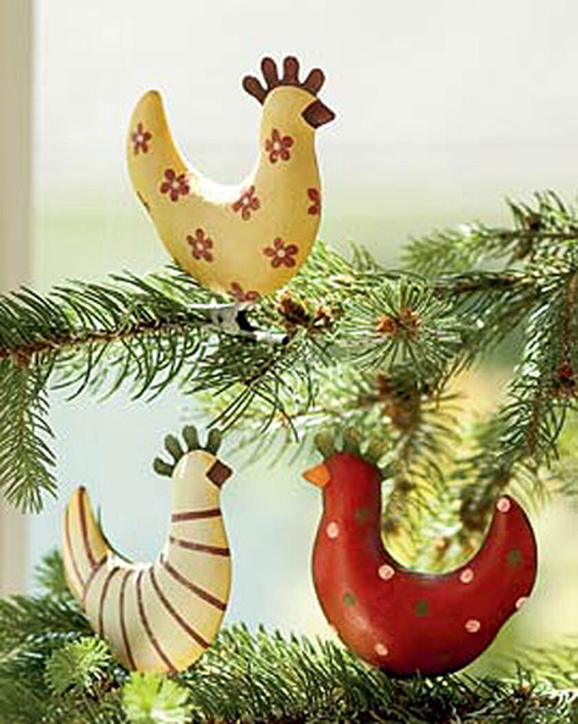 Chicken christmas ornaments - Funky Chicken Ornaments Set Of 3