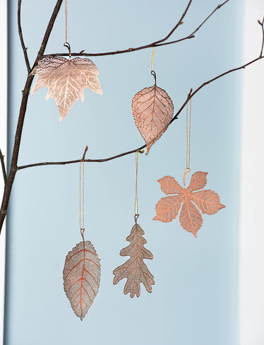 Lace Leaf Ornaments, Set of 5