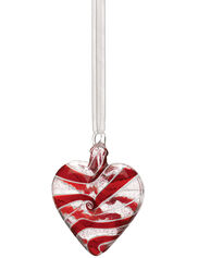 Glass Heart Ornament, Red Swirl