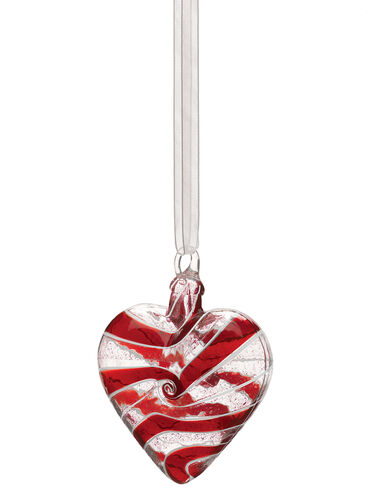 Glass Heart Ornament, Red Swirl