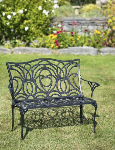 Tulip Bench Aluminum Garden Bench Black Metal Outdoor