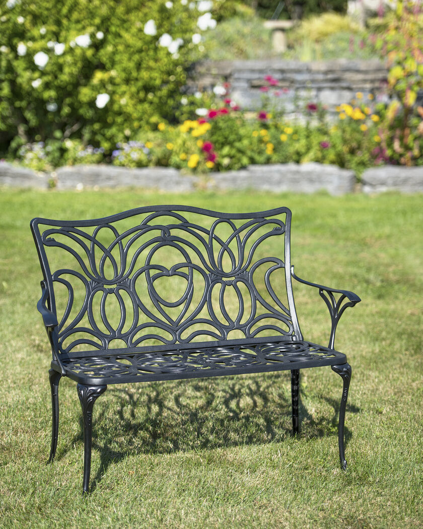 Tulip Bench Aluminum Garden Bench Black Metal Outdoor Bench