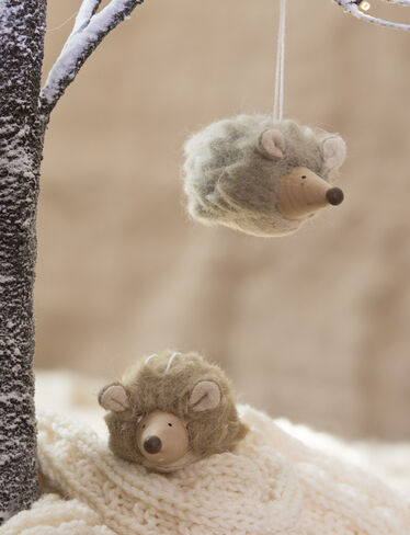 Felted Wool Hedgehog Ornaments, Set of 2
