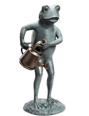Frog with Watering Can Statue