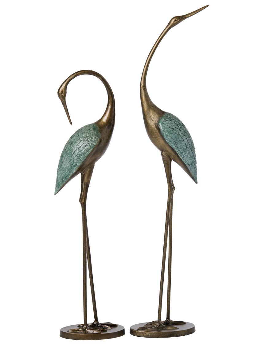 Crane Statues Set Of 2 Crane Garden Statues Crane Sculptures