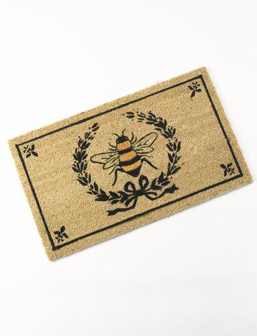 Coir Doormat Bee Crest Laurel Wreath With Fleur De Lis Bees