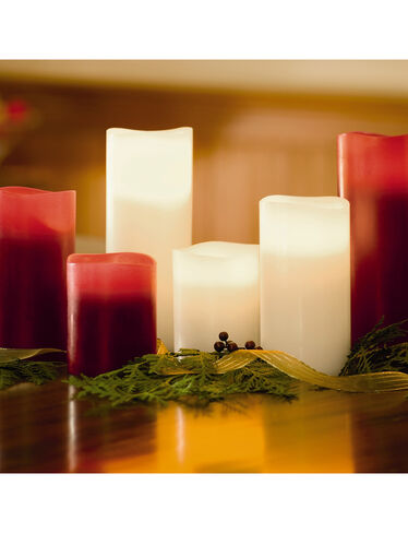Triple LED Pillar Candles, Set of 3
