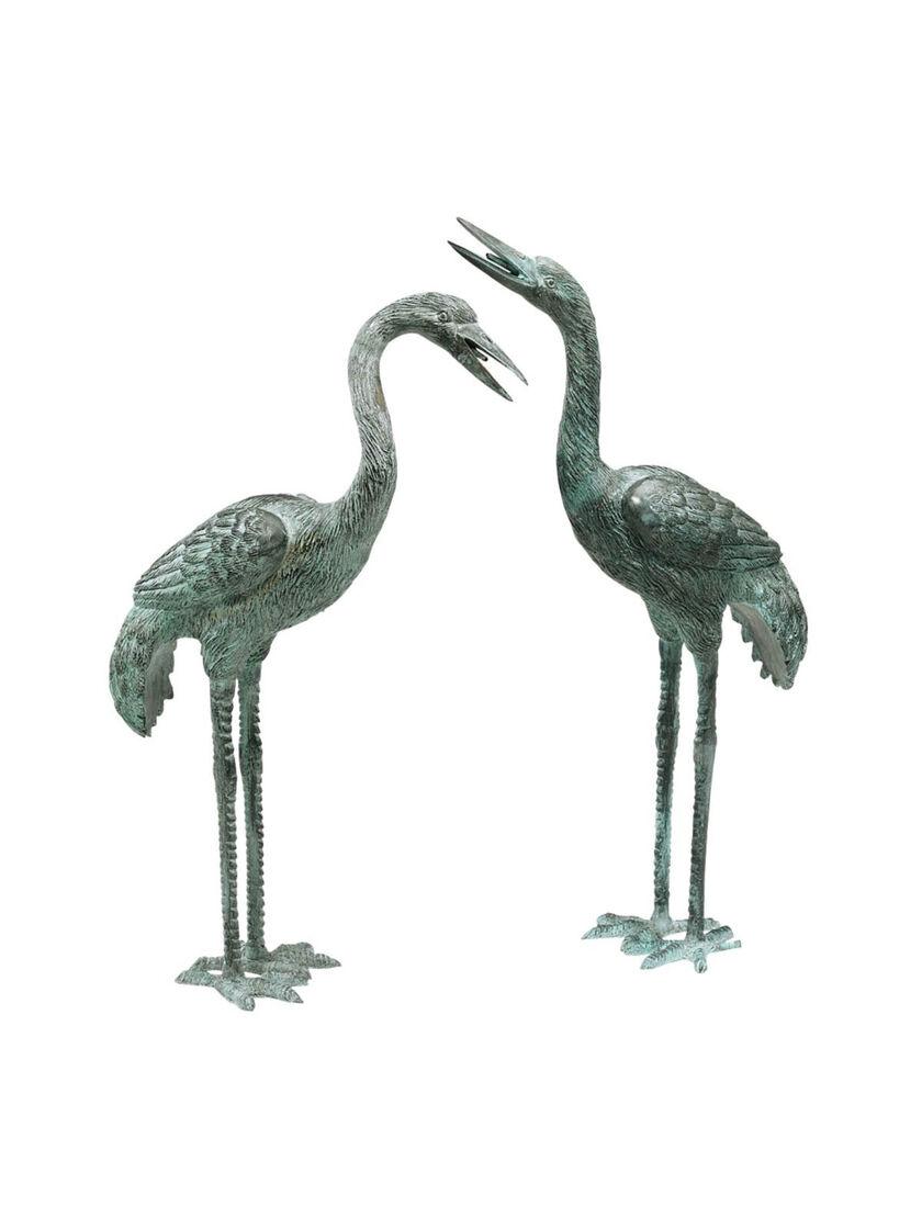 Garden Art Bronze Crane Statues Small Gardener S Supply