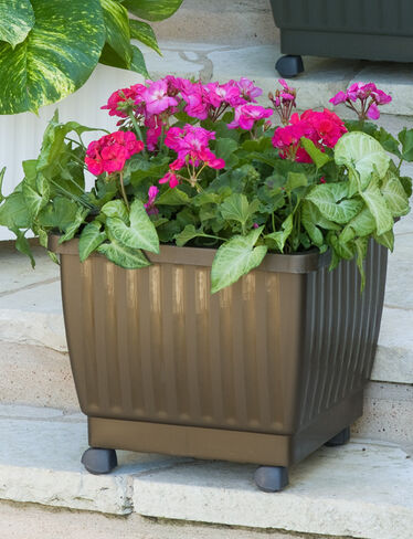 "17"" Self-Watering Rolling Planter, Bronze"