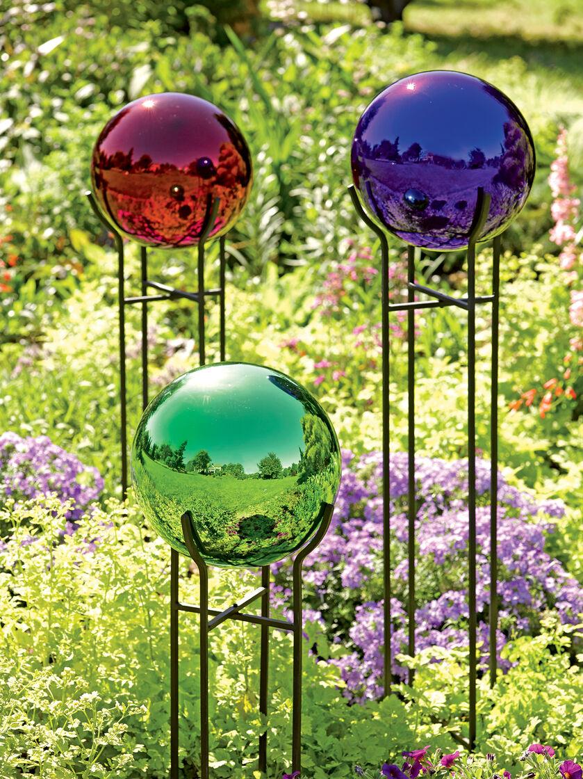 Gazing ball blown glass globe 10 diam gardener 39 s supply for 10 inch reflector floor lamp globe glass