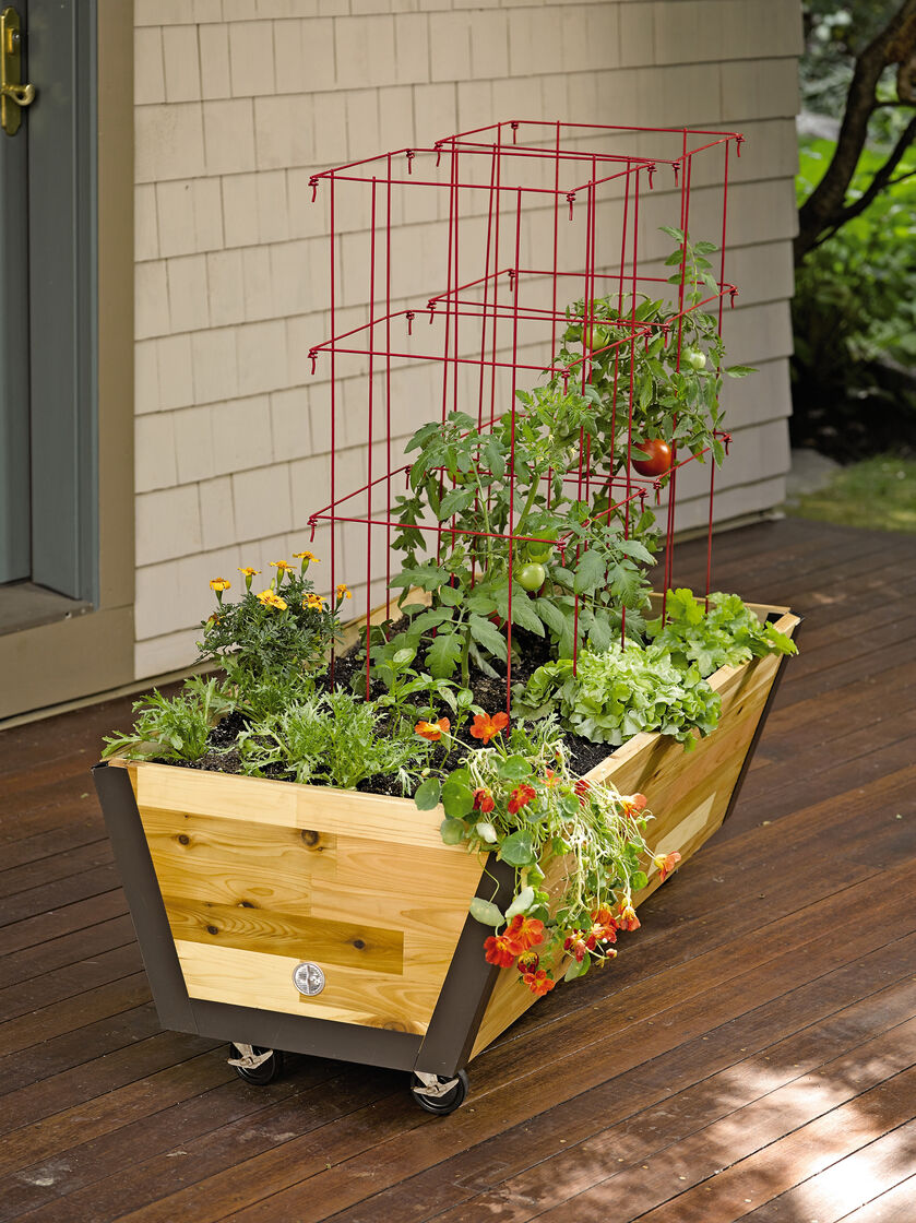 rolling planter box u garden bed on wheels. Black Bedroom Furniture Sets. Home Design Ideas