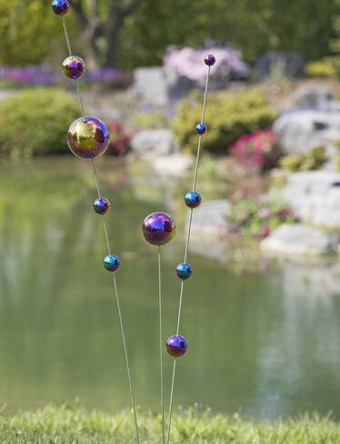 Gazing Ball Stakes Blue & Purple, Set of 3