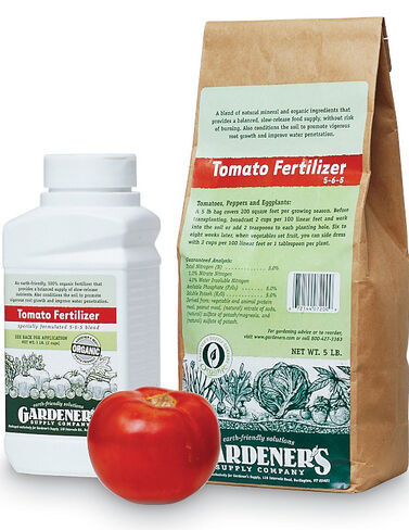 Gardener's Supply Co. Organic Tomato Fertilizer, 5 Lbs. Organic Tomato Fertilizer, Manure, Compost, Vegetable Soil,  Rake, Cultivator, Hoe, Garden Fork