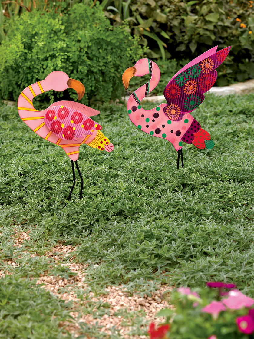 Flamingo garden ornament - Calico Flamingo Stakes Set Of 2